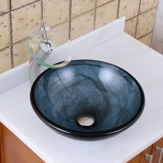 Elite 48N+F22T Blue Swirl Pattern with Double-layer Tempered Glass Bathroom Vessel Sink and Waterfall Faucet Combo