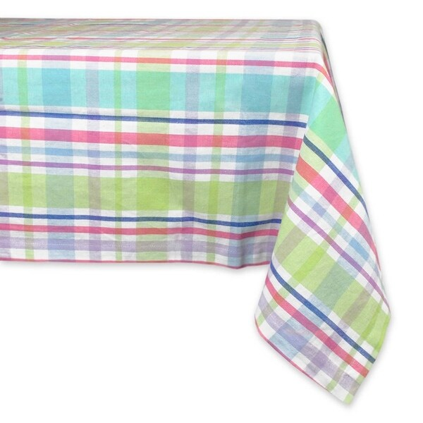 Exceptional Spring Plaid 70 Inch Round Tablecloth