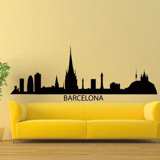 Barcelona Skyline Silhouette Vinyl Wall Art Decal Sticker