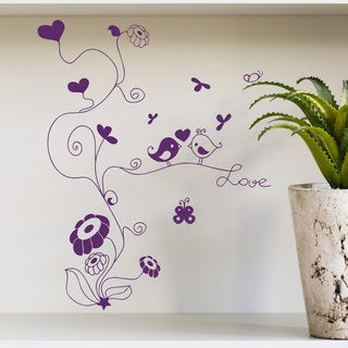 Birds Love Tree Purple Vinyl Sticker Wall Art