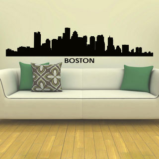 Boston Skyline City Silhouette Vinyl Wall Art Decal Sticker