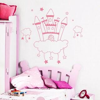 Castle Princess Kingdom Fairy Clouds Pink Vinyl Wall Art Decal Sticker