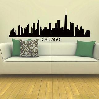 Chicago Skyline City Silhouette Vinyl Wall Art Decal Sticker