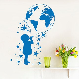 Child and Earth Dreaming Blue Vinyl Sticker Wall Art
