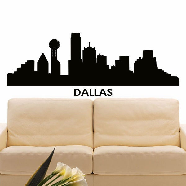 shop dallas skyline city silhouette vinyl wall art decal sticker