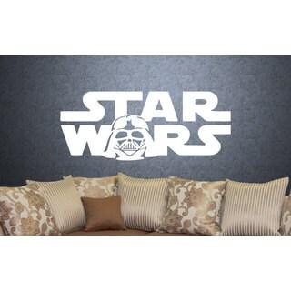 Darth Vader Star Wars Logo Emblem White Vinyl Sticker Wall Art