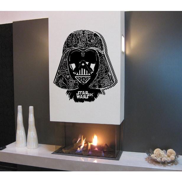 Detailed Darth Vader Helmet Star Wars Vinyl Sticker Wall ...