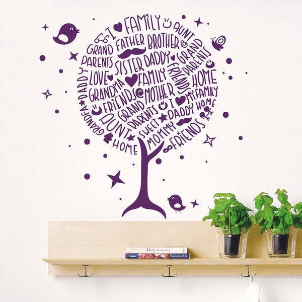 Shop Family Tree Purple Vinyl Sticker Wall Art - Free Shipping On ...