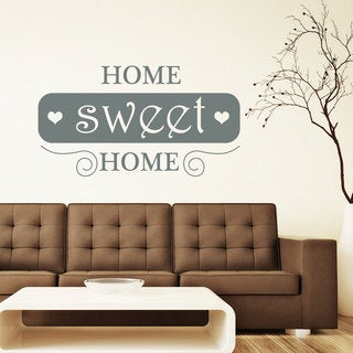 Hearts Home Sweet Home Sign Inspirational Quote Silver Vinyl Sticker Wall Art