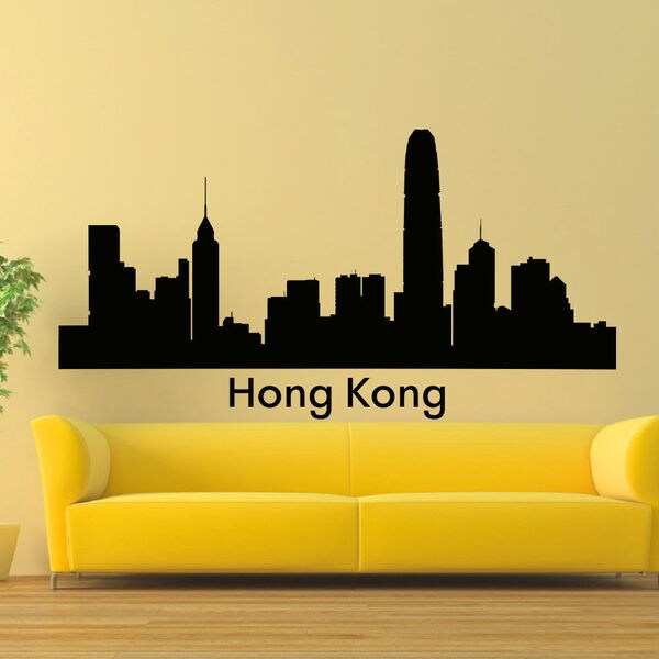 shop hong kong skyline city silhouette vinyl wall art decal sticker