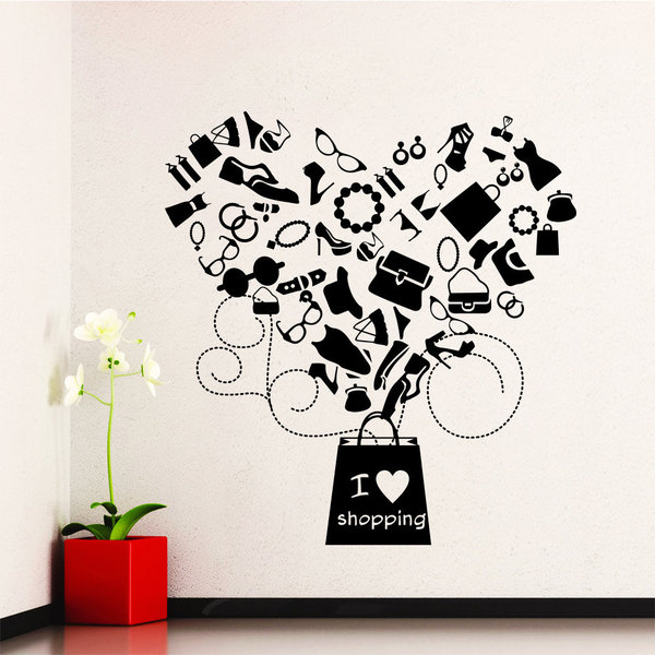 I Love Shopping Vinyl Sticker Wall Art