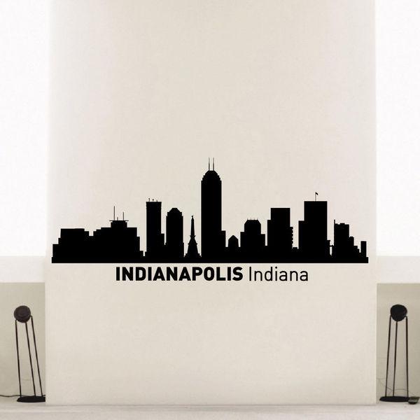 shop indianapolis indiana skyline city silhouette vinyl wall art