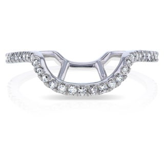 Annello by Kobelli 14k White Gold 1/5ct TDW Curved Diamond Enhancer Wedding Band (G-H, I1