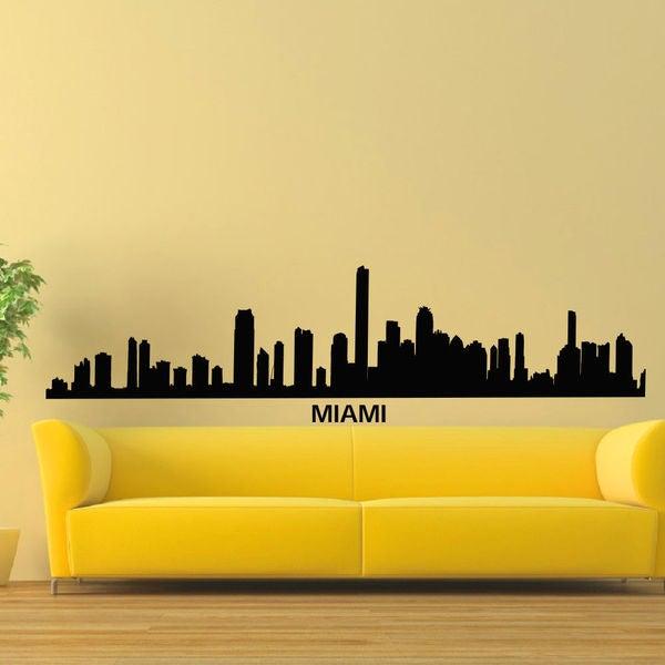 Miami Skyline City Silhouette Vinyl Wall Art Decal Sticker - Free ...