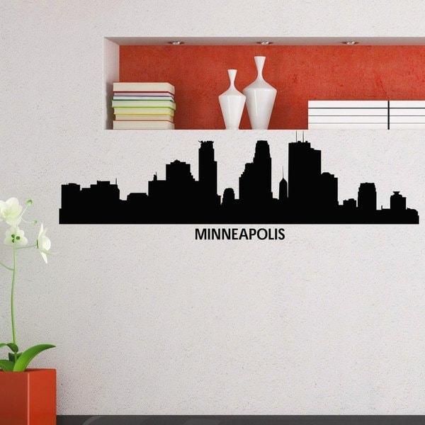 Minneapolis Skyline City Silhouette Decor Vinyl Sticker Wall Art ...