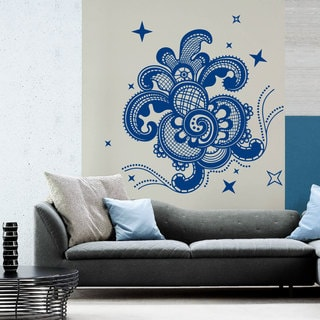 Namaste Yoga Buddha Flower Blue Vinyl Sticker Wall Art