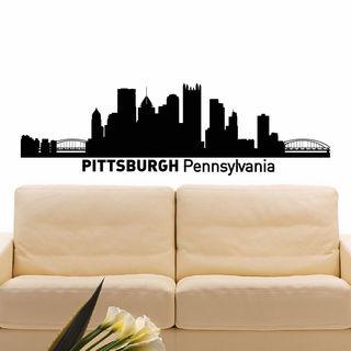 Pittsburgh Skyline City Silhouette Vinyl Wall Art Decal Sticker