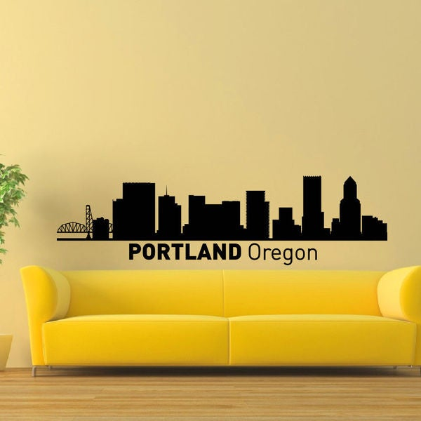 Portland Oregon Skyline City Silhouette Vinyl Wall Art Decal Sticker ...