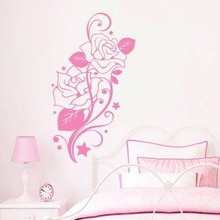 Roses and Stars Pink Vinyl Sticker Wall Art