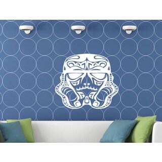Abstract Storm Trooper Helmet Star Wars White Vinyl Sticker Wall Art