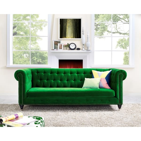 Pleasant Shop Hanny Green Velvet Sofa Free Shipping Today Cjindustries Chair Design For Home Cjindustriesco