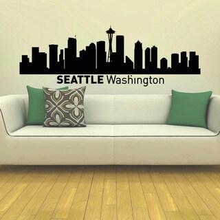 Seattle Washington Skyline City Silhouette Vinyl Wall Art Decal Sticker