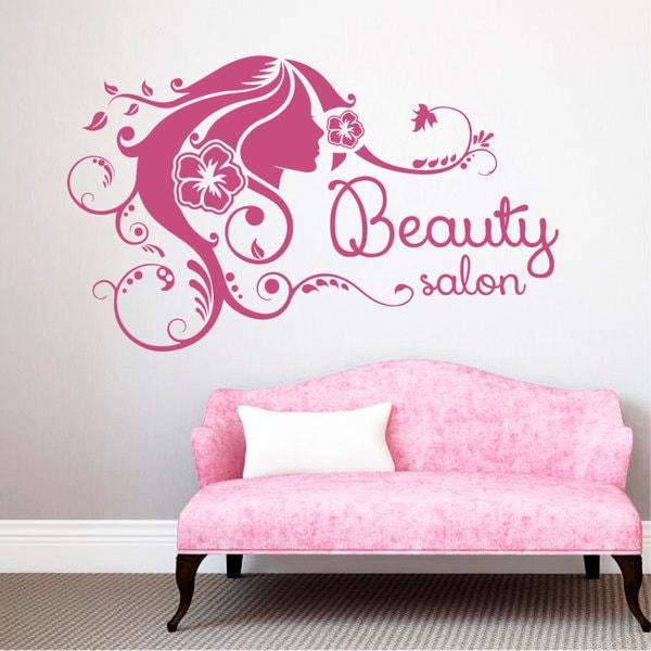 Salon Wall Art sexy girl face beauty salon decor pink vinyl sticker wall art