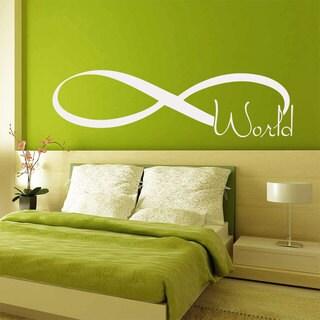 World Infinity Symbol White Vinyl Sticker Wall Art