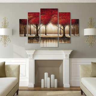 Rio 'Parade of Red Trees' 5 Panel Art Set|https://ak1.ostkcdn.com/images/products/10425930/P17524614.jpg?impolicy=medium