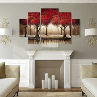 Copper Grove 'Parade of Red Trees' 5-panel Art Set