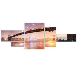 Moises Levy 'Brooklyn Bridge Pano 5' 5 Panel Art Set