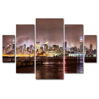 David Ayash 'Midtown Manhatten Over Hudson River' 5 Panel Art Set