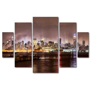 David Ayash 'Midtown Manhatten Over Hudson River' 5 Panel Art Set