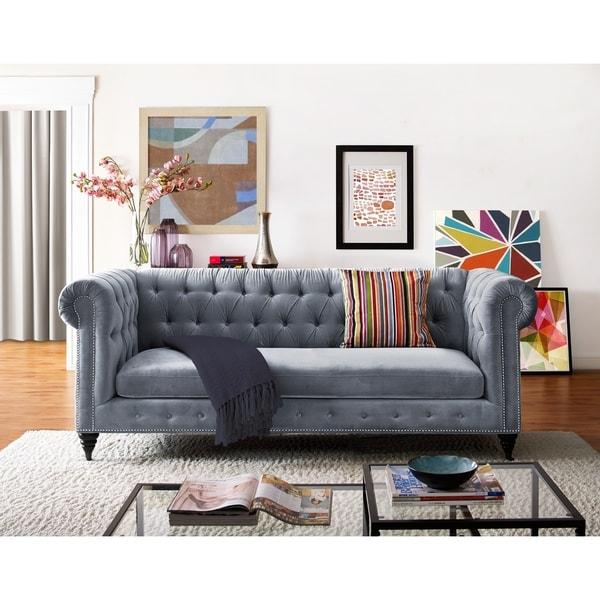 Hanny Grey Velvet Sofa