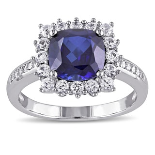 Miadora Sterling Silver Cushion-cut Created Blue and White Sapphire with Diamond Accents Square Halo Engagement Ring