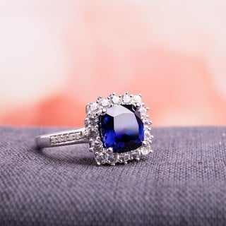 Miadora Sterling Silver Cushion-cut Created Blue and White Sapphire with Diamond Accents Halo Engagement Ring