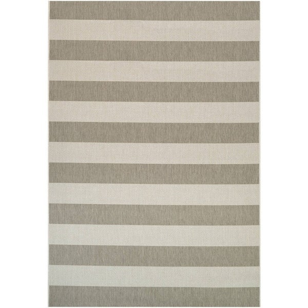 Couristan Afuera Yacht Club/Tan-Ivory Indoor/Outdoor Area Rug - 6'6 x 9'6