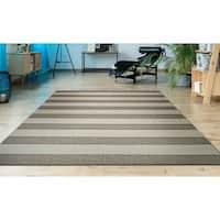 """Hampton Striped Beige-Cream Indoor/Outdoor Area Rug - 6'6"""" x 9'6"""""""