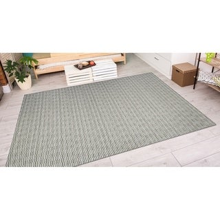 Couristan Cape Barnstable/Light Blue-Silver Indoor/Outdoor Area Rug - 6'6 x 9'6