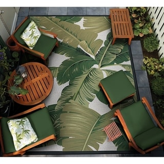 "Gelato Tropical Palm Green-Ivory Indoor/Outdoor Area Rug - 5'3"" x 7'6"""