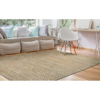 Hand-Loomed Green Leaves Elevation Natural-Tan Area Rug - 5' x 8'