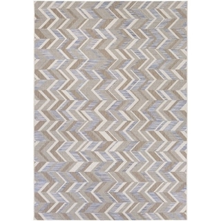 Couristan Tides Shelter Island/Blue-Beige Indoor/Outdoor Area Rug - 6'7 x 9'6