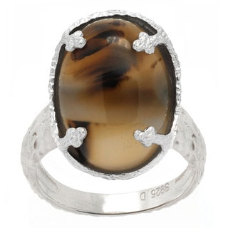 De Buman Natural Agate Sterling Silver Solitaire Ring