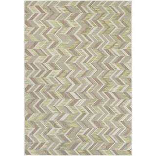Couristan Tides Shelter Island/Lemongrass-Beige Indoor/Outdoor Rug - 6'7 x 9'6