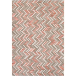 Couristan Tides Shelter Island/ Sienna Red-grey Rug (5'3 x 7'6)
