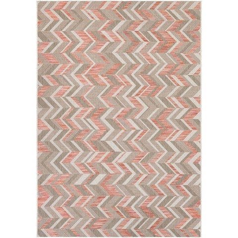 "Couristan Tides Shelter Island/Sienna Red-Beige Indoor/Outdoor Rug - 6'7"" x 9'6"""