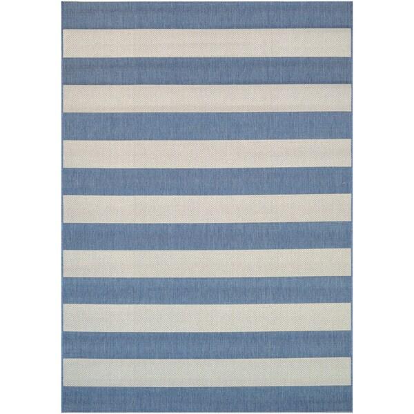 "Hampton Striped Blue-Cream Indoor/Outdoor Area Rug - 9'2"" x 12'5"""