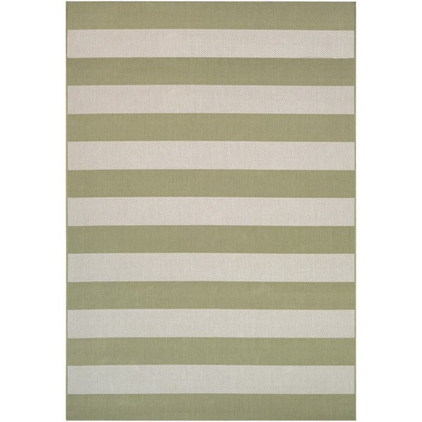 "Hampton Striped Khaki-Cream Indoor/Outdoor Area Rug - 9'2"" x 12'5"""