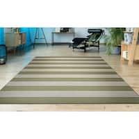 "Hampton Striped Khaki-Cream Indoor/Outdoor Area Rug - 9'2"" x 12'5"""