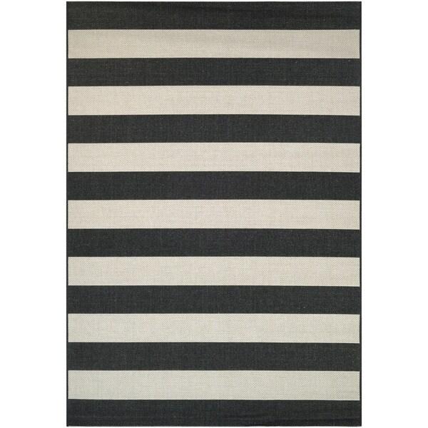 "Hampton Striped Black-Cream Indoor/Outdoor Area Rug - 9'2"" x 12'5"""
